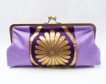 Clutch bag, lilac, purple and gold evening purse