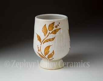 Ceramic Wine Cup - Pottery Tea Bowl - Juice Cup - Pottery Glass - Antiqued Style - White Cup - Vine Stencil