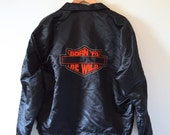 Vintage 80s 90s Born to Be Wild Black Satin Men's Bomber Jacket (size large, xl)