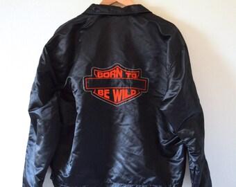 Vintage 80s 90s Born to Be Wild Black Satin Men's Bomber Jacket (size large, xl)