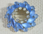 Vintage Brooch Circular Ring Shape with Soft Semi Transparent Blue Glass Stones and Clear Diamanté Rhinestones - Silver Tone Fitting
