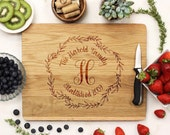 Personalized Cutting board, Couples Name Board, Newlywed Decor, Wedding Gift Cutting Board engraved White Oak Wood --21051-CUTB-004