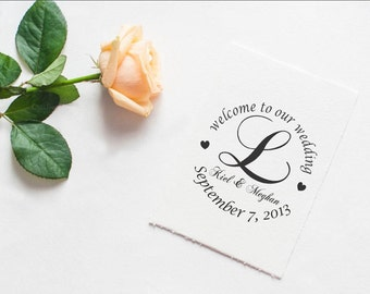 Welcome rubber stamp Custom greeting LARGE RUBBER STAMP for wedding welcome bags --5702