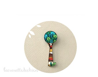 Green tree brooch - Jewelry Tree - Illustrated jewelry - Woodland Tree Brooch
