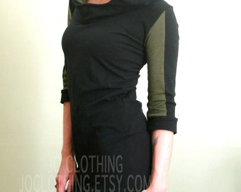 half sleeved hooded tunic dress Black/Olive Green