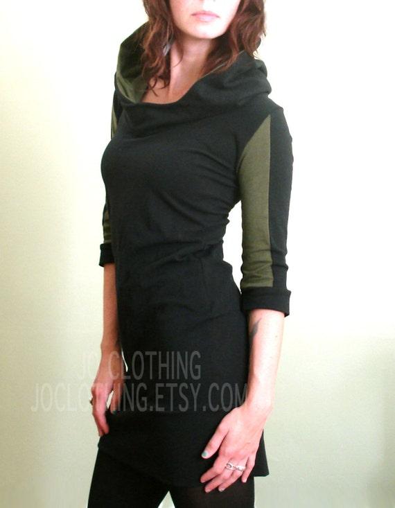 half sleeved hooded tunic dress Black/Dark Olive Green