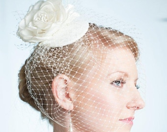 Wedding Cocktail Hat and Birdcage Veil  Bridal Accessory Ivory Made to Order