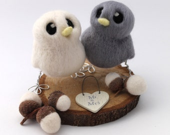Mini Wedding Cake Topper Birds in Grey and Pastel Choose Your Custom Colours