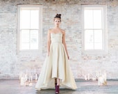 SAMPLE SALE Shimmering Gold High/Low Wedding Dress - 34 inch bust