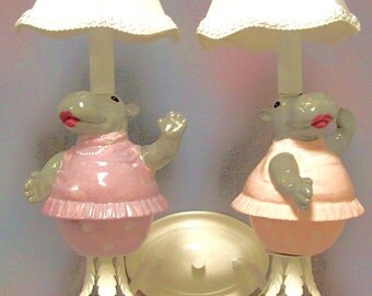 Kid's Room Wall Sconce Dancing Hippos
