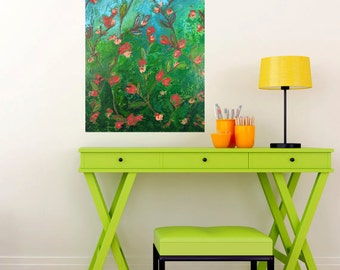 Large Abstract Floral Painting - Climbing Red Rose Garden - 18x24 inch - Original Acrylic Art - Modern Contemporary Art