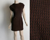 Vintage 1960s Mini Dress - Dark Chocolate Brown Textured Knit Form Fitting Wiggle Dress with Tiger Button Hips - Small