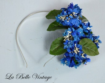 Cobalt Blue Fascinator ~ 1930s Floral Headband ~ Reclaimed Vintage Flower Hair Accessory