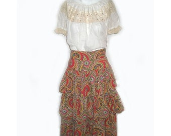 Vintage  1940's Three Tiered Ethnic Paisely Print Skirt