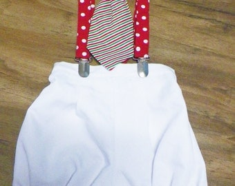 Christmas outfit Baby Boy Knickers Suit with suspenders and bow tie size 6/9 months Ready to ship