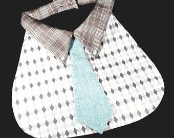 Mod Retro Formal Boy Bib with Tie, Holiday, Birthday, Christmas, black tie, wedding, special occasion