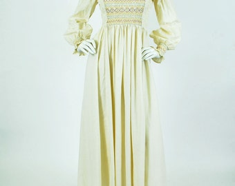 Maskit Israel Rare 1970's Vintage Beautiful Cream Cotton Embroidered Balloon Sleeve Maxi Dress