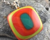 Sherbet Colored Fused Glass Necklace. Geometric Jewelry. Bullseye Pendant. Handmade Glass Jewelry. Fused Glass Pendant. Mod Jewelry.