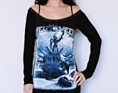 Helloween shirt metal rock alternative clothing Off Shoulder Tunic top dress dark style fashion