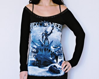 Helloween shirt metal rock alternative clothing Off Shoulder Tunic top dress dark style fashion
