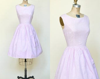 1950s Gingham Dress --- Vintage Lavender Summer Dress