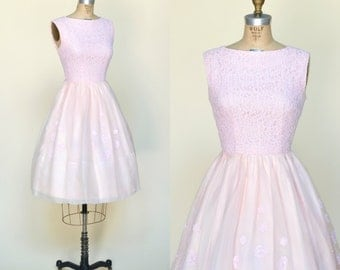 1960s Party Dress --- Vintage Pink Lace Dress