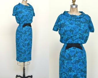 1960s Cocktail Dress --- Vintage Blue Floral Dress