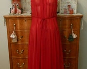 20% SALE Vintage 60s Nightgown by Intime of California, 1960s Scarlet Red Sheer Chiffon and Lace Negligee with Original Satin Belt, S, M, L
