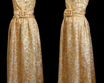 Vintage 50s Dress, 1950s Gold Lame Metallic Brocade Evening Gown, Ruched Belt, Size M Medium