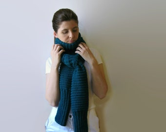 Denim Blue Wool Hand Knit Scarf, Man, Wrap, Soft, Long, Womens Scarves, Neck Warmer, Winter, Shawl Scarf, Blue Scarf, Knitted Scarf
