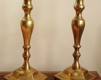 """Large Brass Candle Holders 16"""" Heavy 8 lbs ea Church Altar Candlesticks 8"""" Base"""