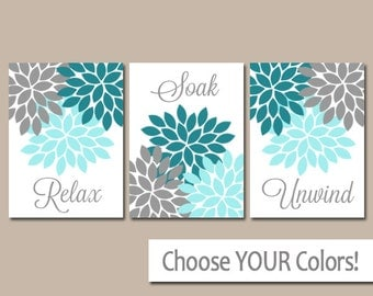Teal Gray Bathroom Wall Art Canvas Or Prints Bathroom Pictures Decor Relax Soak