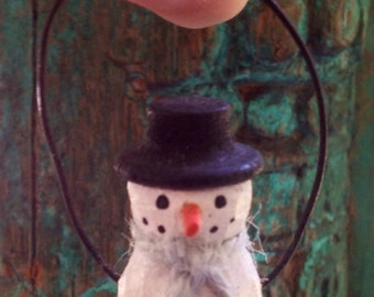 Carved Snowman Wood Turning Christmas Ornament, Primitive Christmas
