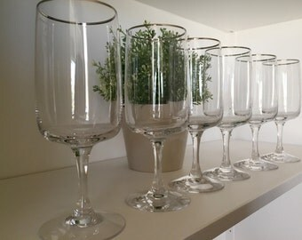 Set of 6 Fostoria Crystal Platinum Trim Water Goblets / Wine Glasses Announcement Pattern Holiday Entertaining Signed Wedding TYCAALAK