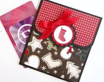 Christmas Gift Card Holder -Hand Stamped Red and Chocolate Brown Glitter Christmas Card - Holiday Money Holder Card