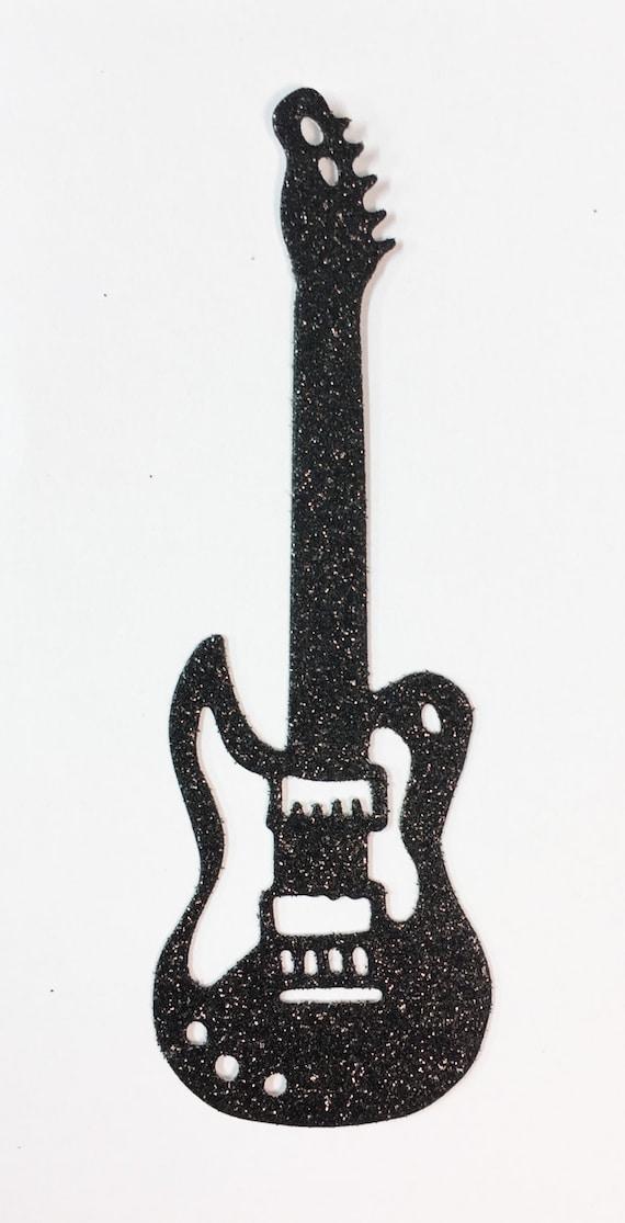 "Electric Rock Guitar Die Cut Black Glitter Cardstock 4"" Embellishment Scrapbook Greeting Card Mixed Media Paper Art Craft Altered Attic"