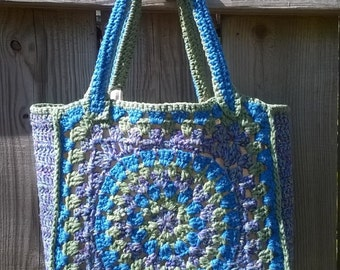Happy Circle Tote - Lined Cotton Crochet Tote Bag