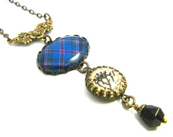 Scottish Tartan Jewelry - Cooper Clan Tartan Rose Floral Necklace with Luckenbooth Charm and Onyx Black Czech Glass Crystal