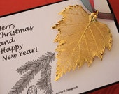 Birch Leaf Ornament Gold, Birch Leaf, Birch Leaf Extra Large, Ornament Gift, Christmas Card, ORNA57