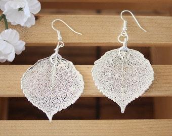 Large Leaf Earrings Silver, Real Aspen Leaf Pendant Size, Sterling Silver Earrings, Nature, Silver Aspen Leaf LEP40