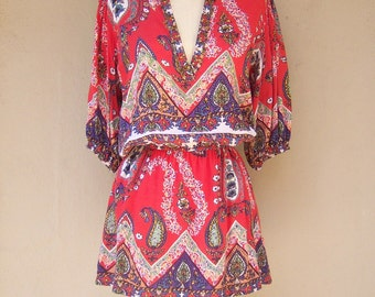 Sheer boho blouse / BEADED paisley hippie blouse / red floral flowing rayon / deep v-neckline / womens small medium