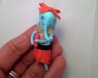 Spun Cotton blue Elephant girl Valentine ornament by Maria Paula