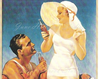 Digital Download Vintage PostCard and Billboard Images Man and Lady Drinking Coca Cola on the Beach 0018