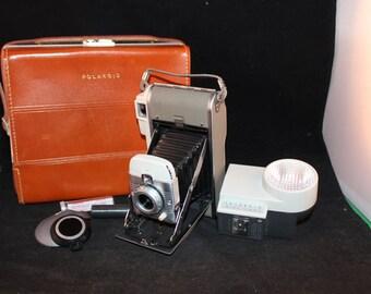 Vintage 1950's Era Polaroid Model 80B Land Camera in Top Grain Cowhide Leather Case