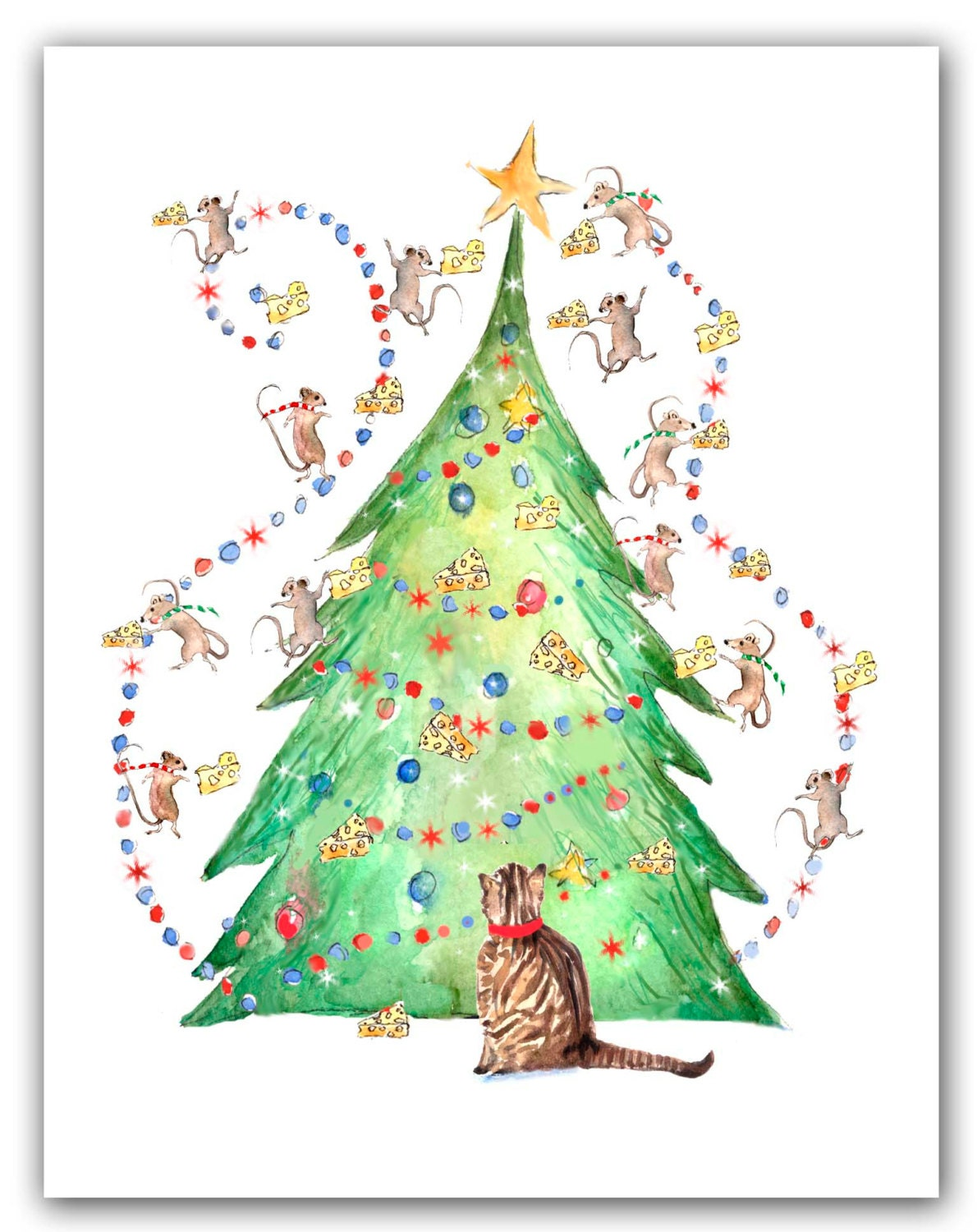 Cat with mice tree Christmas cards. 10 cat holiday cards