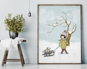 Winter, nursery wall decor, nursery wall art girl, girl nursery decor, dog wall art, dog wall decor, nursery decor girl, nursery art girl