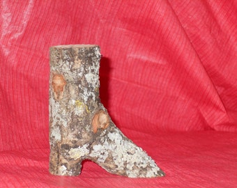 Wooden Boot  solid Pecan wood, decoration only