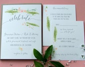 Beautiful, Watercolor Floral Invitations, Peach Wedding, Garden Wedding, Spring Wedding, Simple modern