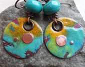 Top of the World ... Copper Enameled Charms, Lampwork and Copper Wire-Wrapped Rustic, Boho, Earthy, Southwestern Earrings
