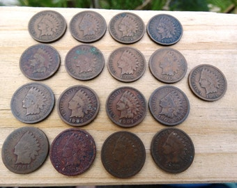 1900's Indian Head Penny Jeweler Artist Numismatic jewelry One Cent 1 Cent Money Coins  F-9